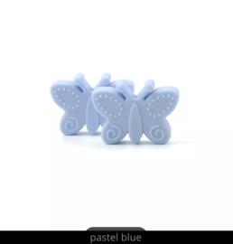 Siliconen vlinder kraal licht blauw