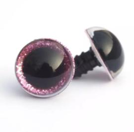 Glitterogen 15 mm roze per paar