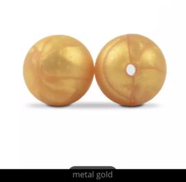 Siliconen kralen 12 mm goud kleur per 2 stuks