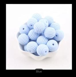 Siliconen kraal in spiraalvorm 15 mm licht blauw