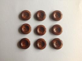 Knopen 25 mm mahonie per 5 stuks