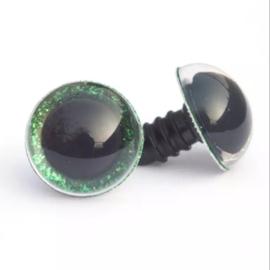 Glitterogen  12 mm groen per paar