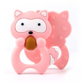 Siliconen bijtring wasbeer roze
