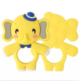 Siliconen bijtring olifant geel