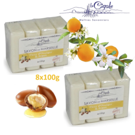 Organic soap with argan oil and orange blossom scent 8x100g