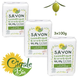 Biologische olijfolie zeepstukken 3x100g