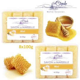 Glycerine and honey Marseille soap 8x100g