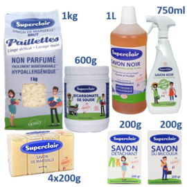 Superclair household cleaning products package.