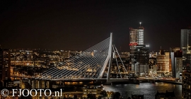 Rotterdam erasmusbrug panorama 3 (Canvas 2 cm)