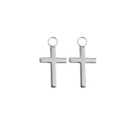 Oorbellen paar hangers | kruis - ZILVER