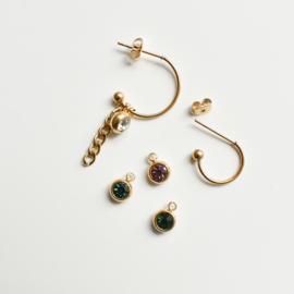 Oorbellen hangers |  STEENTJES 6 mm - turquoise goud