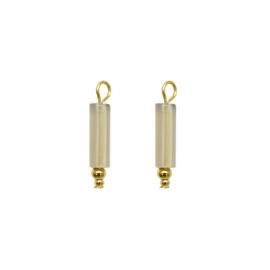 Oorbellen paar hangers | steen GRIJS - goud