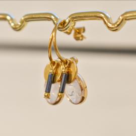 Oorbellen hangers | GRIJSBLAUW  -  goud