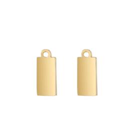 Oorbellen hangers | goud rechthoek - blanco