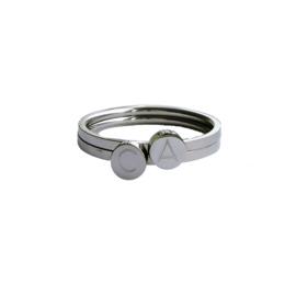 Stapel ring SET initiaal | ZILVER