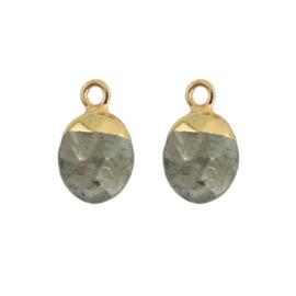 Oorbellen hangers | GRIJS steen druppel