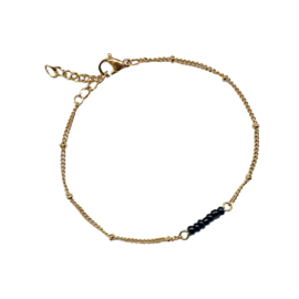 Stel zelf samen | Armband met kraaltjes zwart - GOUD