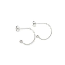 Oorbellen creolen voor verwisselbare hangers | 13 mm - ZILVER