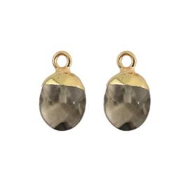 Oorbellen hangers | GRIJSBRUIN steen druppel