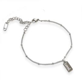 Armband rechthoek - met eigen tekst |  Zilver