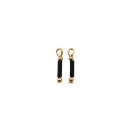 Oorbellen hangers | ZWART  -  goud