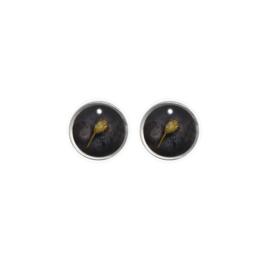 Oorbellen paar hangers | Droogbloem zwart - ZILVER