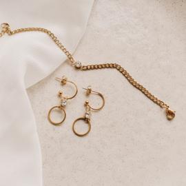 Armband basic met steentje |  Goud