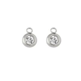 Oorbellen paar hangers |  STEENTJES 6 mm - crystal zilver