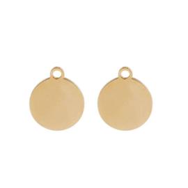 Oorbellen hangers | goud rond - blanco
