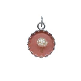 Ketting/Armband hanger - ROZE met droogbloem - zilver