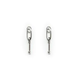 Oorbellen hangers | Schakel + glashanger -  zilver
