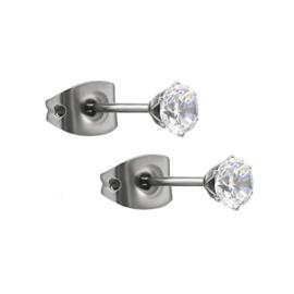 Oorbellen knopjes CRYSTAL | Zilver