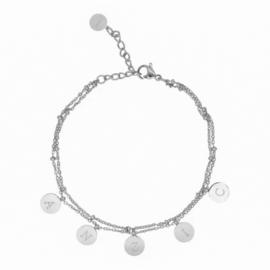 Armband muntjes - voor 1-6 initialen | ZILVER