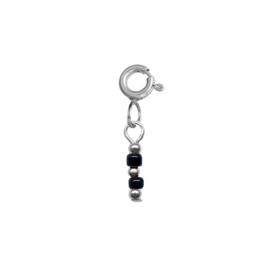 Ketting/Armband hanger - Rocailles zwart | ZILVER