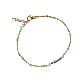 Stel zelf samen | Armband met kraaltjes grijs - GOUD