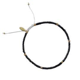 Stel zelf samen | Armband rocailles zwart - GOUD
