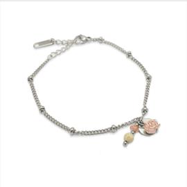 Armband bolletjes VINTAGE ROOS  |  Zilver