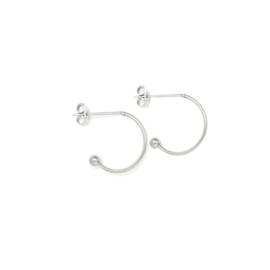 Oorbellen creolen voor verwisselbare hangers | 10 mm - ZILVER