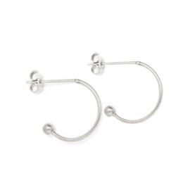 Oorbellen paar hoops voor verwisselbare hangers | 15 mm - ZILVER