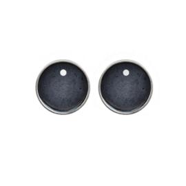 Oorbellen paar hangers | Rond zwart - ZILVER