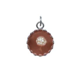 Ketting/Armband hanger - COGNAC met droogbloem - zilver