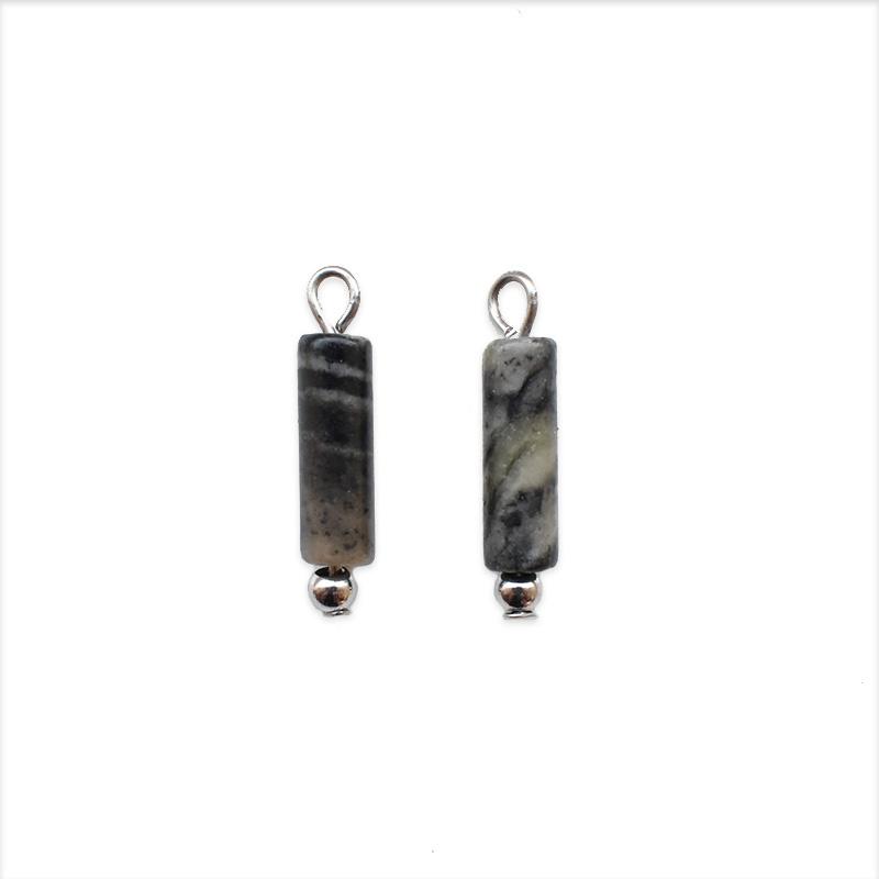 Oorbellen hangers | steen ANTRACIET - zilver