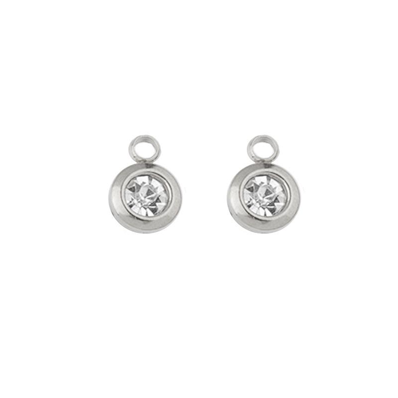 Oorbellen hangers |  STEENTJES 6 mm - crystal zilver