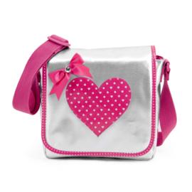 Zebra Trends schooltas schoudertas Roze hart - zilver roze