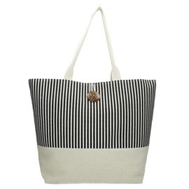Strand tas / Shopper zwart gestreept