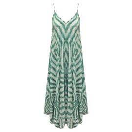 Zomer oversized slip jurk  - Wit Groen  One Size