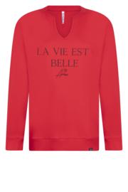 Zoso Sweater 205 Belle - rood/zwart