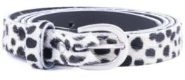 DSTRCT leren riem Wild and Free smal (2cm) zwart-wit 105 cm