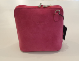 Suède dames schoudertas roze - fuchsia - Giuliano