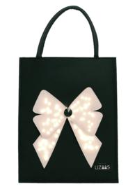 Lizaas - Verlichte schoudertas / shopper strik - zwart